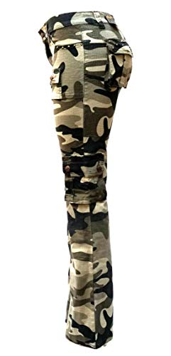 - J-Star/Lucy/Blue Pointe Jeans Juniors Womens Stretch Hipster Multi Pockets Camouflage Cargo Pants (13/14, J-Star 5010 Olive/Black Camouflage)