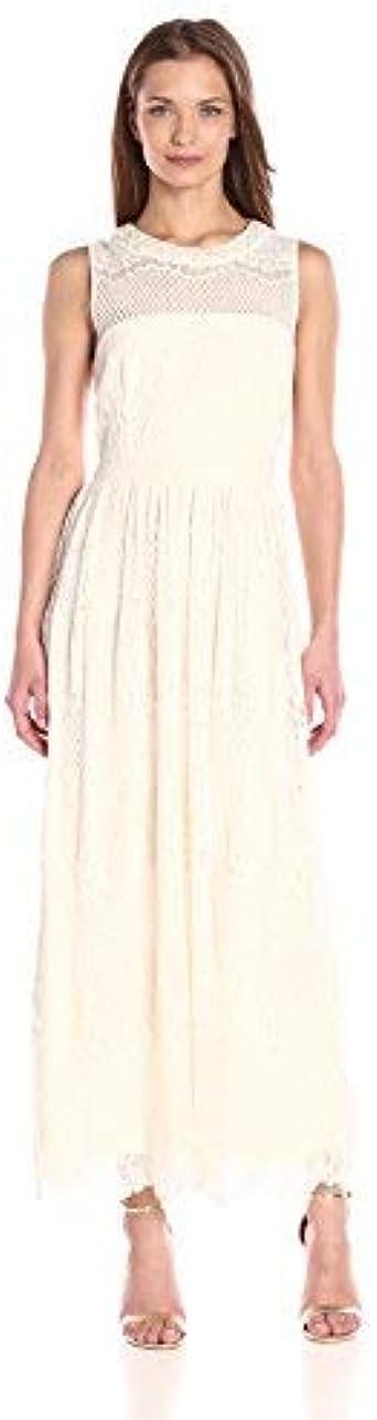 London Times Womens Sleeveless Round Neck Lace Maxi Dress