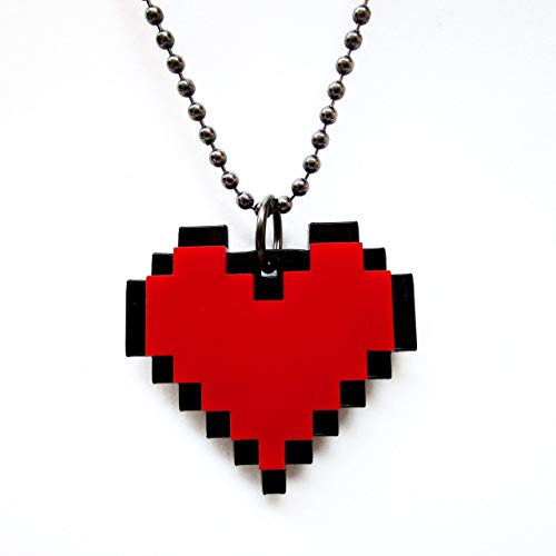 Red 8 Bit Pixel Heart Cosplay Necklace, Pixelated Point Graphic Gaming Life Container ()