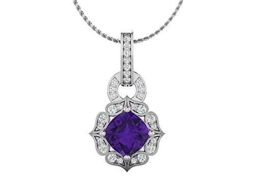 14K White Gold IGI Certified Natural Diamond (H-I Color, I1 Clarity) Scroll Halo & Natural Amethyst Cushion Cut Pendant Necklace for Women with 18