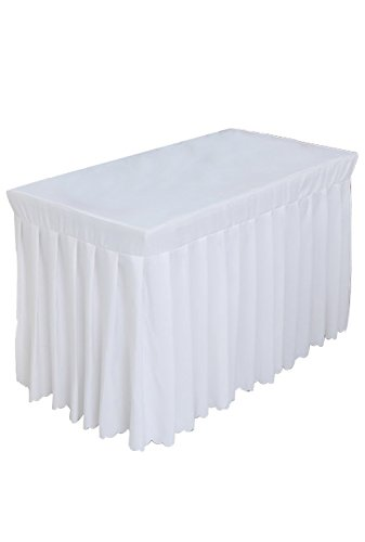 (Tina 4' ft Rectangular Pleated Polyester Table Skirt Tablecloth White)