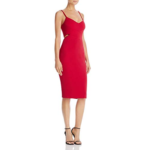 Laundry by Shelli Segal Womens Cut Out Crepe Cocktail Dress Red 10