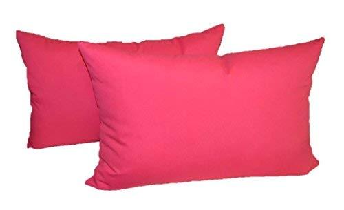 Set of 2 - Indoor/Outdoor Rectangle/Lumbar Decorative Throw/Toss Pillows - Solid Hot Pink [並行輸入品] B07RBDJVWG
