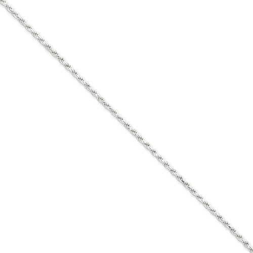 1.75mm Sterling Silver, Diamond Cut Rope Chain Necklace, 16 Inch