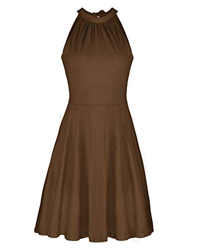 - OUGES Women's Stand Collar Off Shoulder Sleeveless Cotton Casual Dress(Coffee,XL)