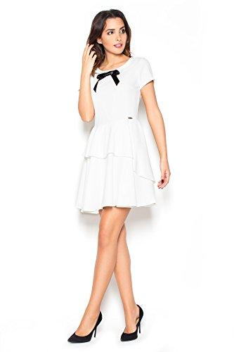 Oberteil 40 Kleid Weibliches mit Katrus Ecru Größe Kragen und Schleife ABwqOSE
