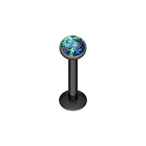 Colorline Opal Glitter Shower Dome 316L Surgical Steel Labret Monroes (16g 3/8 Black) (Labret Stud 14g)