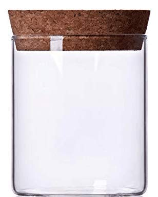 Newerlives Air Tight Storage Jar, Glass Storage Tank with a Natural Bamboo Lid, 450 ML, 650 ML, 950 ML (Cork, 450ML)