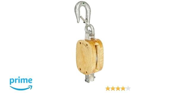 1//2 Rope 1000 lbs Load Capacity 2-1//4 Sheave Indusco 16900076 4 Single Wood Manila Rope Block with Hook