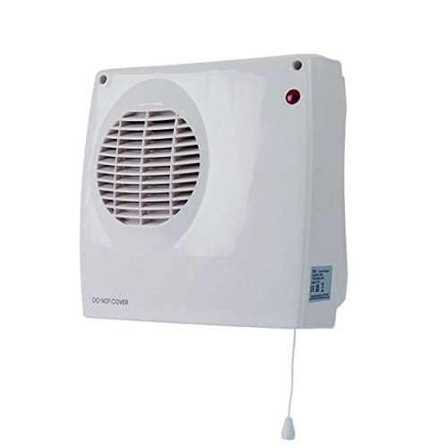 Hyco DF20 'Zephyr' Down Flow Small Wall Mounted Fan Heater 2kW for Kitchen, Bathroom W 23.5  x 24.3 H x 12 D cm