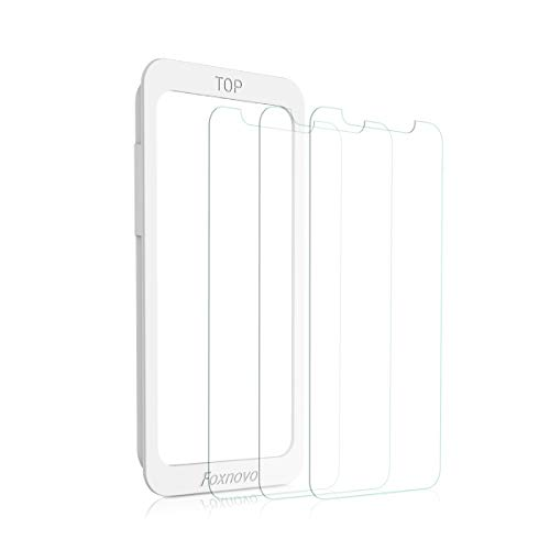 iPhone X/XS Screen Protector, Foxnovo iPhone X/XS Tempered Glass Screen Protector with Guide Frame Anti Scratch Glass Protector 3D Touch Clear Screen Protectors for Apple iPhone X/XS 5.8 Inch, 3 Pack