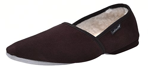 Lambland Mens Sheepskin Suede Turn Slippers With Suede Sole and Luxurious Lambswool Lining Brown Rpdgiz3D1s