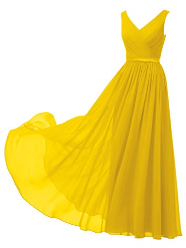 Evening Long Dress - Alicepub V-Neck Chiffon Bridesmaid Dress Long Party Prom Evening Dress Sleeveless, Mustard Yellow, US4