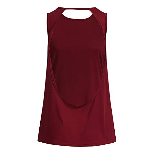 Alalaso Sexy Open Back Yoga Shirt Women Activewear Workout Sports Gym Tank Tops Vest(Red,L) by Alalaso (Image #2)