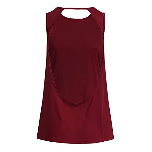 rosso Maglietta Camicie Tunica Back Camicetta Activewear Da Workout kword Muscolo Canotta Camicia Sport Donne Shirt Yoga Open Pullover Top C Palestra Sexy Blusa a840aBr