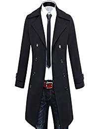Mens Wool Blend Trench Coat Winter Long Jacket Double Breasted Overcoat