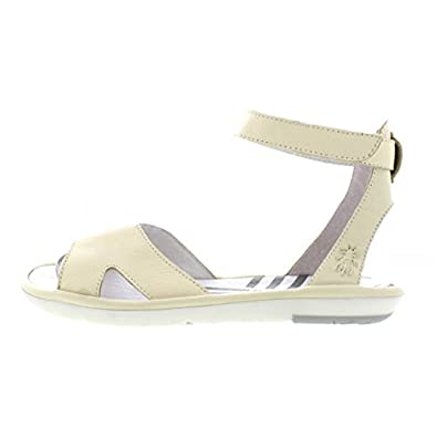 01336ba05e5 Fly London Mafi Off White Leather Ankle Strap Open Toe Flat Sandals   Amazon.co.uk  Shoes   Bags
