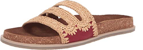 Free People Women's Crete Footbed Slides, Chili, Tan, 8 Medium US (Raffia Flats)
