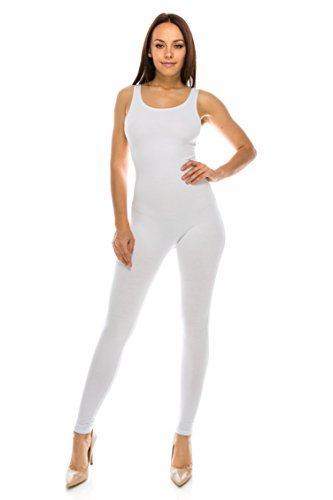CNC STYLE Women Active Plus n Regular Size Cotton Stretch Scoop Neck Sleeveless Tank Yoga One Piece Jumpsuit Unitard Bodysuit (Large, White)]()