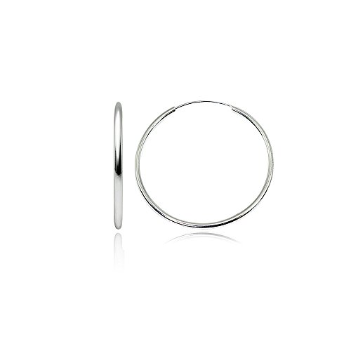 Sterling Silver Medium Large Endless 2x40mm High Polished Round Lightweight Unisex Hoop Earrings (1 3/5 Inch)