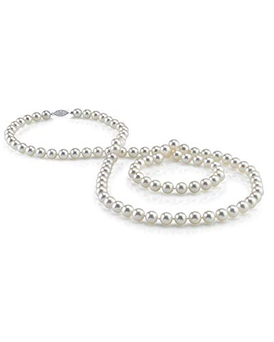 THE PEARL SOURCE 7-8mm AAA Quality Round White Freshwater Cultured Pearl Necklace for Women in 36