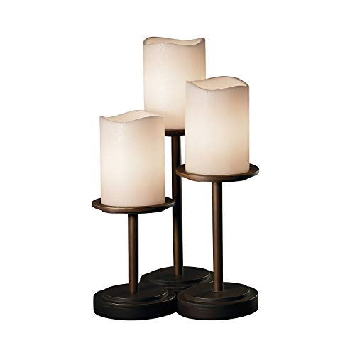(Justice Design Group CandleAria 3-Light Table Lamp - Dark Bronze Finish with Cream Faux Candle Resin)