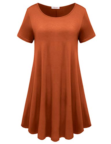 BELAROI Womens Comfy Swing Tunic Short Sleeve Solid T-Shirt Dress (M, Dark Orange) ()