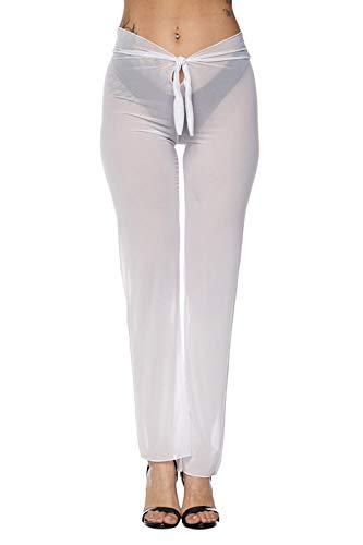 Pink Queen Women's Sheer Mesh Pants Swimsuit Bikini Bottom Cover ups White S ()