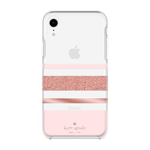 Kate Spade New York Phone Case for Apple iPhone XR Protective Phone Cases with Slim Design Drop Protection and Floral Print, Charlotte Stripe Rose Gold Glitter/Blush/Rose -