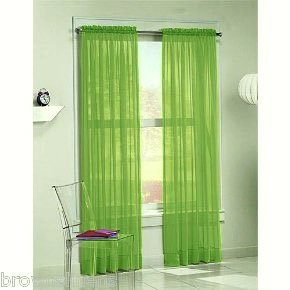 2 PCS Solid Sheer Window Curtains/Drape/Panels/Treatment - Lime