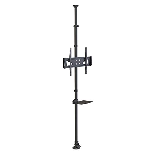 Tripp Lite Floor-to-Ceiling TV Mount for 32″ to 65″ Displays, Height Adjustable, Shelf for A/V Source, Black (DMFC3265M)