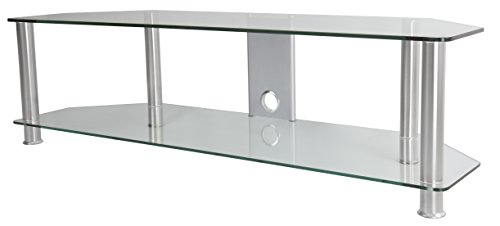 AVF SDC1400CMCC-A  TV Stand with Cable Management for up to 65-inch TVs, Clear Glass, Chrome Legs ()