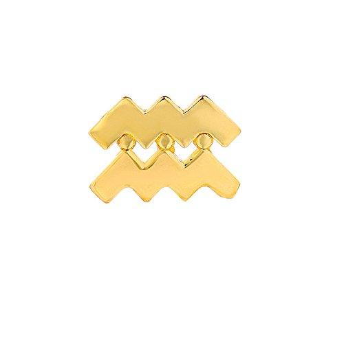 Mini Mini Jewels 14k Fine Yellow Gold High Polish Trendy Aquarius Zodiac Post Single Earring ()