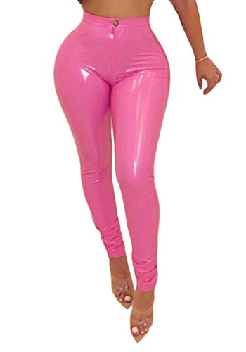 Cosygal Women's PU Faux Leather High Waist Leggings Long Pants Trousers Rose ()