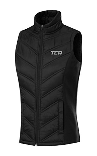 TCA Women's Excel Runner Thermal Lightweight Running Vest/Bodywarmer With Zip Pockets - Black, XL