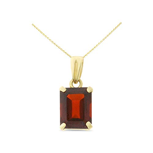 14K Yellow Gold 6 x 8 mm. Emerald Cut Genuine Natural Garnet Pendant With Square Rolo Chain - Square Necklace Garnet