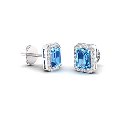 Blue Topaz With Diamond Earring - Diamondere Natural and Certified Blue Topaz and Diamond Petite Stud Earrings in 14K White Gold | 0.67 Carat Halo Earrings for Women