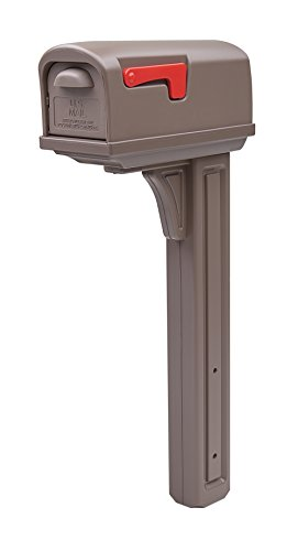 Gibraltar Mailboxes Classic Medium Capacity Double-Walled Plastic Mocha, All-In-One Mailbox & Post Combo Kit, GCL10000M