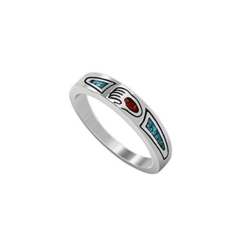 Sterling Coral Ring Turquoise - 925 Sterling Silver Turquoise with Coral Paw Gemstone Inlay Southwestern Style Ring