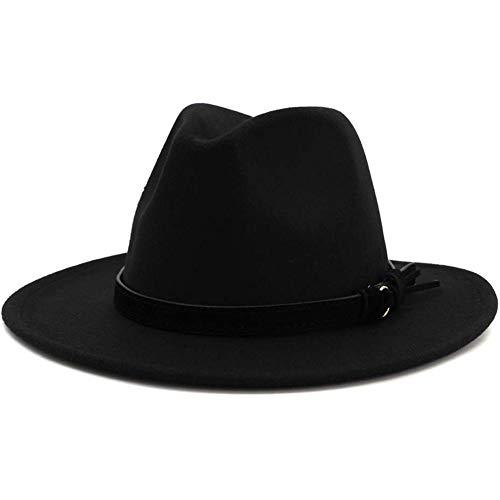 Lisianthus Men & Women Vintage Wide Brim Fedora Hat with Belt Buckle (B-Black, M; Hat Circumference: 56-58cm (for Women))
