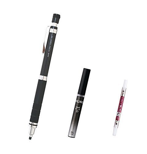 Uni Kuru Toga Roulette Model Auto Lead Rotation Mechanical Pencil 0.5 Mm - Gun Metallic Body (M5-10171P.43) with the Spare 20 Leads Only for Kuru Toga & Pencil Eraser for - Spare Models