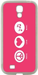 Rikki KnightTM Peace Love Music Tropical Pink Color Design Samsung? Galaxy S4 Case Cover (White Hard Rubber TPU with Bumper Protection) for Samsung Galaxy S4 i9500 by icecream design