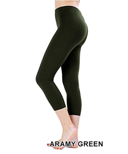 UNU Style Premium Ultra Soft Cotton 15 inch Capri & Regular Capri Leggings (R-Army Green, Medium)