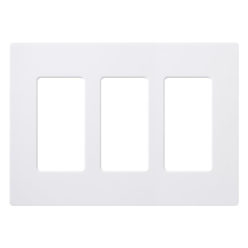 Lutron Claro 3 Gang Decorator Wallplate, CW-3-WH, White (Plastic Switchplate)