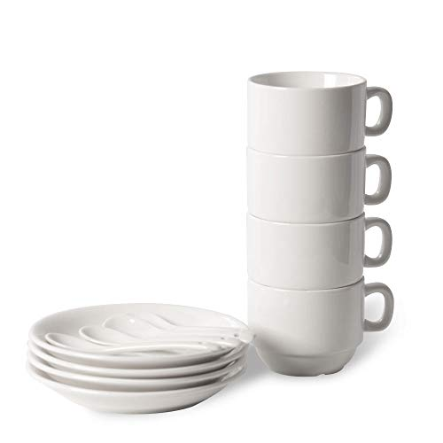 12 Piece Espresso Cup - 12-Piece Espresso Cups with Saucers and Spoons, 6oz Demitasse Cups, Fine White Porcelain, Stackable Espresso Coffee Mug Sets- for Specialty Coffee Drinks, Latte, Cafe Mocha and Tea-Set of 4