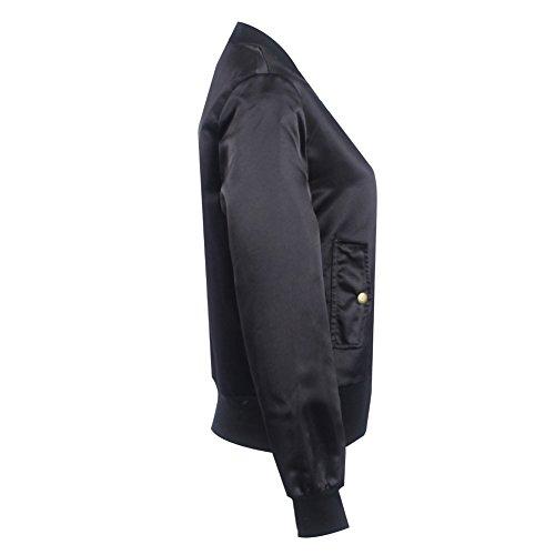 amp; Noir de pour Cabina Outerwear Soie Automne La en Femme Court Coat Ball Blouson Hiver Satin Base Jacket Veste Casual wPfRpxqHn
