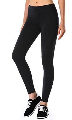 Y.PING Yoga Leggings for Women Tall Running Tights Compression Spandex Pocket Pants BLACK M