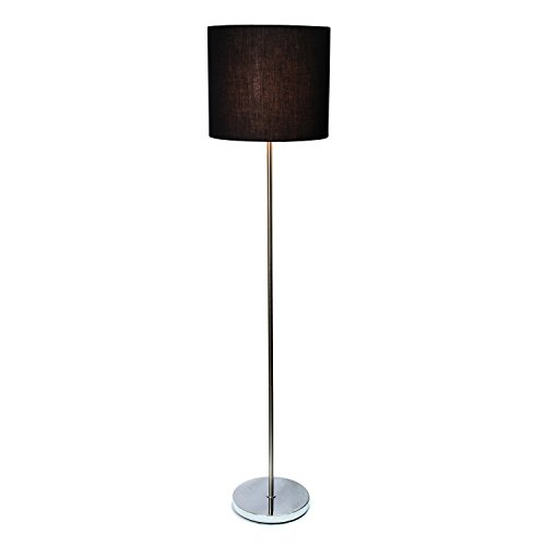 Simple Designs LF2004-BLK Brushed Nickel Drum Shade Floor Lamp, Black