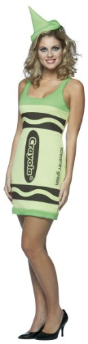 [Rasta Imposta Crayola Tank Dress Teen Costume, Screamin' Green, Teen 13-16] (Crayola Costume Logo)