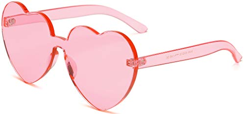 J&L Glasses Fashion Rimless Heart-Shaped One PieceClear Lens Color Candy Sunglasses (Pink, Heart)